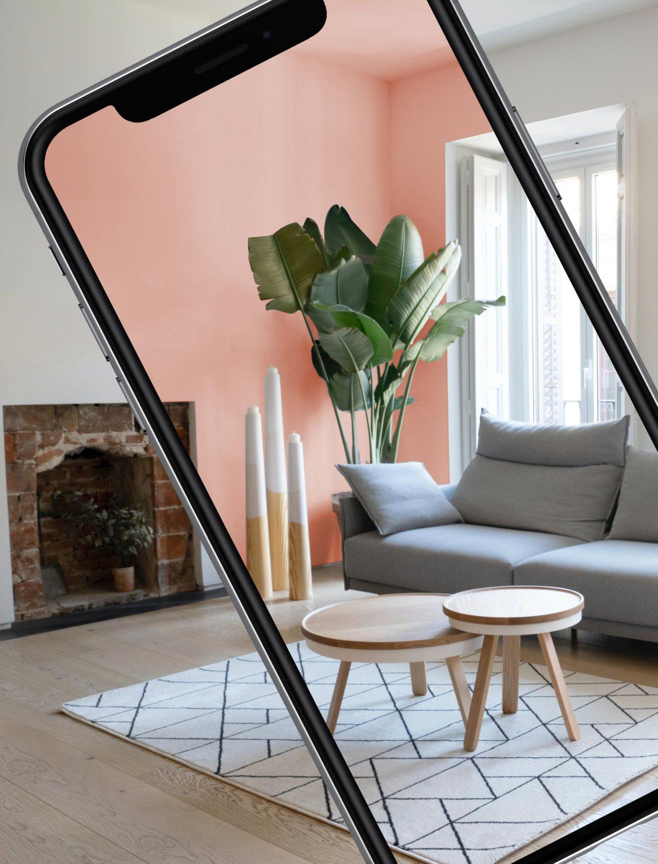 Virtuell eingefärbte Wand in stylishem Wohnzimmer